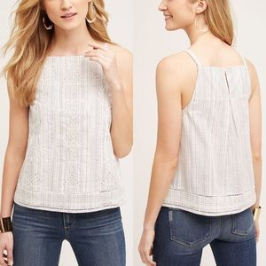 Anthropologie Striped Embroidered Top
