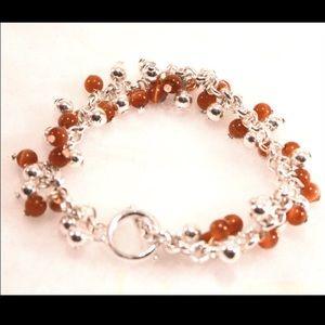 Jewelry - Silver Tone and Brown Drop Bead Hook &Eye Bracelet