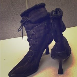 Black Pointed Toe Suede Booties and Lace Up
