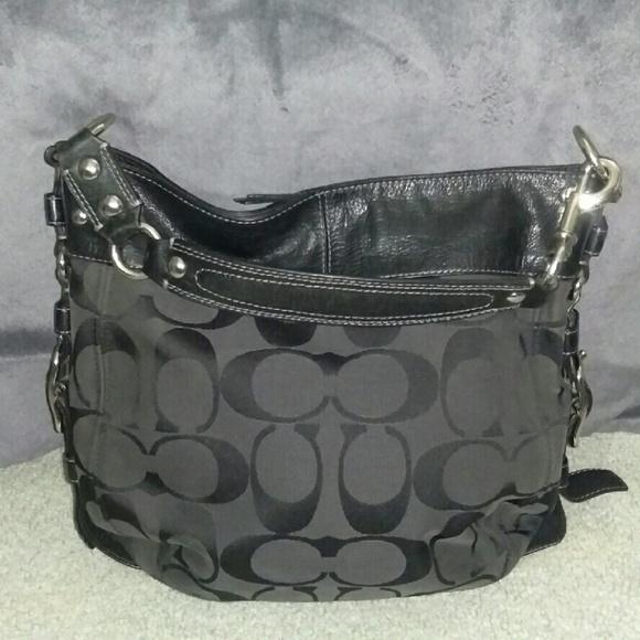786a3778d8e Coach Bags   Black Cloth Leather Hobo Purse Handbag   Poshmark