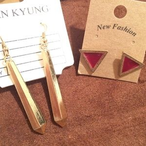 Jewelry - 2 pairs of Minimalistic Earrings