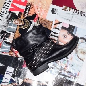 Shoes - Black Studded Moto Low Ankle Booties Sz 8.5