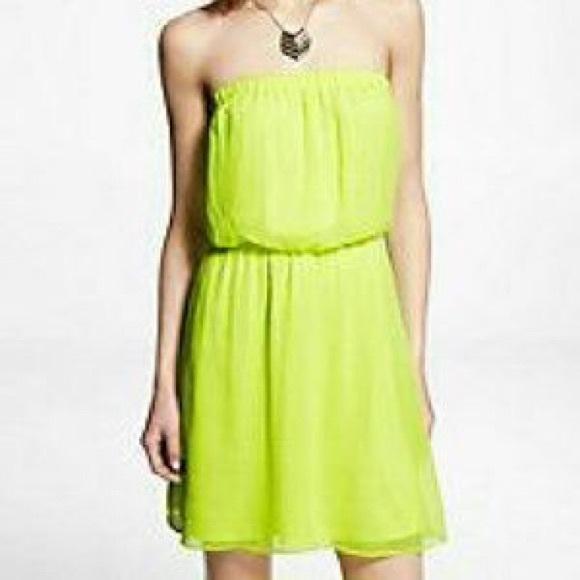 Express Dresses | Neon Yellow Summer Strapless