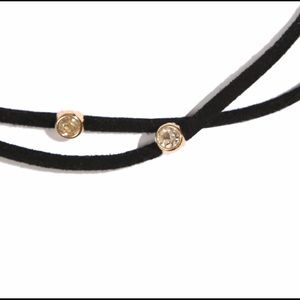 NuBella Jewelry - Faux Suede Double Strain Choker w Crystals JW-120