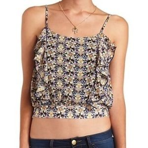 New Charlotte Russe Ruffle Front Crop Top - XSmall