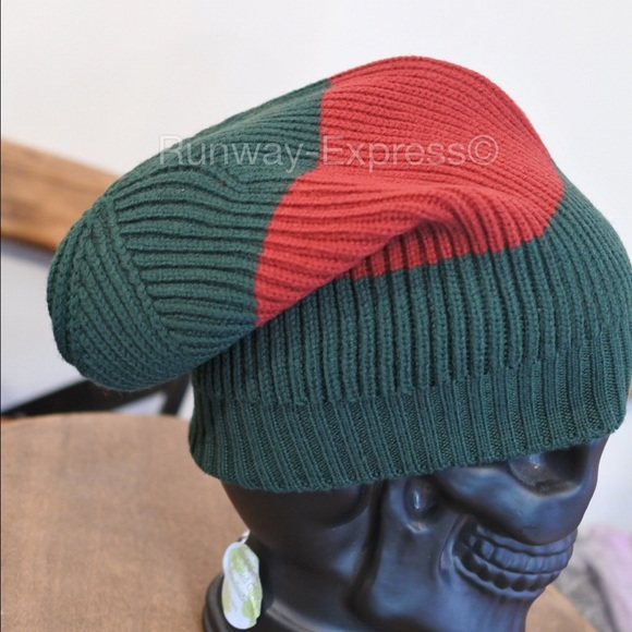 98d8873419a Gucci Wool Green Red GG Slouchy Beanie