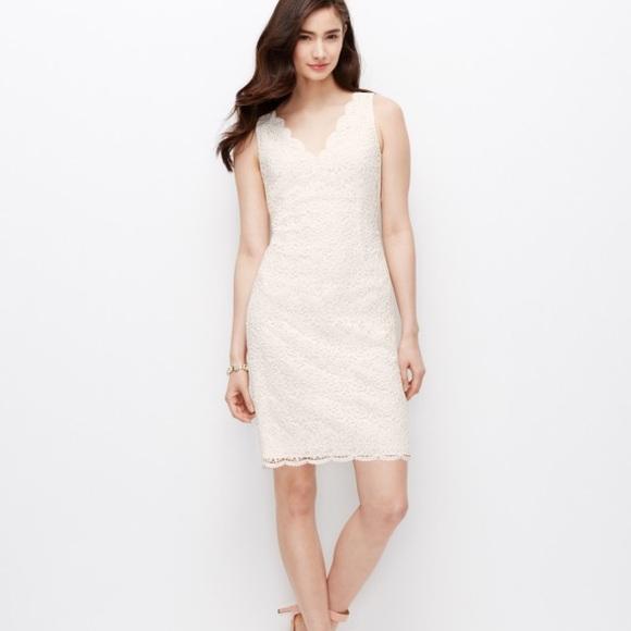 686b4f8475 Ann Taylor Dresses | Scalloped Lace Dress Winter White Sz 10 | Poshmark