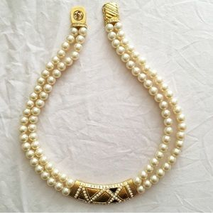 Jewelry - Faux Pearl Necklace w Gold Color Bar & Rhinestones