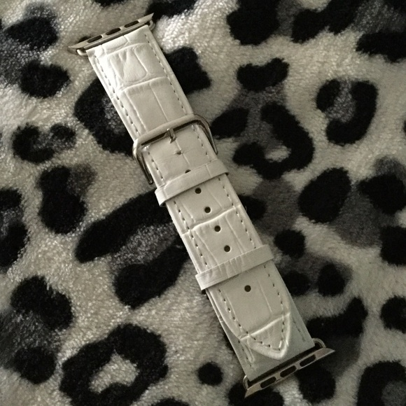 Accessories - Apple Watch 42MM white leather snakeskin band new