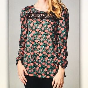 Floral/pink/greenlong sleeve blouse