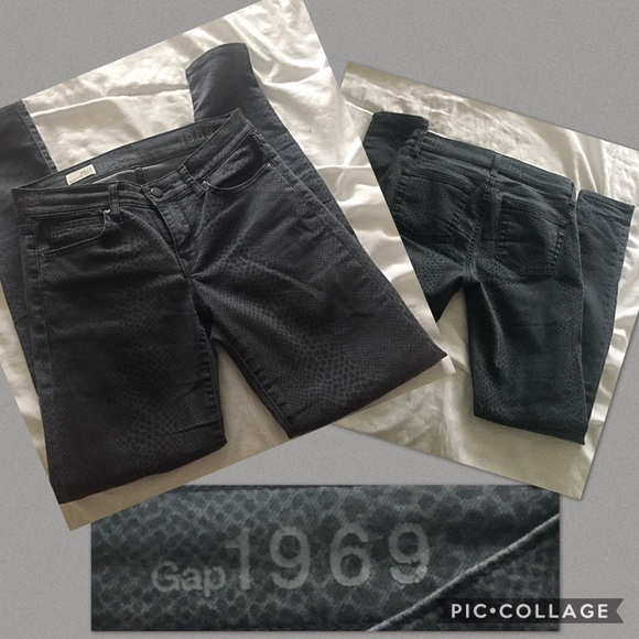GAP Denim - Gap grey reptile print skinny Jean 26