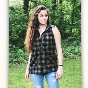 🍃Blue/green🍂plaid sleeveless pocket button shirt