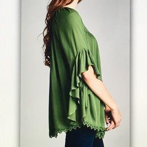 Tops - 🌲Green 3/4🌲bell sleeve flowy blouse