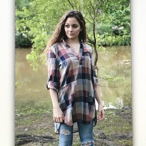 Tops - 🎍Brown/blue🎍 checkered 3/4 sleeve tunic