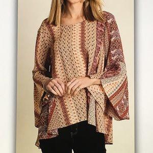 Tops - 🐴Brown/cream🐴pattern bell sleeve blouse