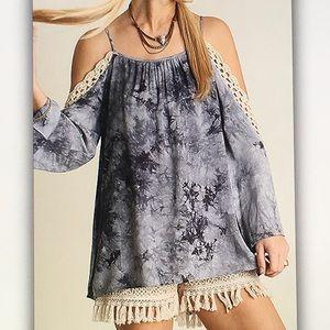 Umgee Tops - 🐝Blue tie🐝dye crochet off shoulder blouse