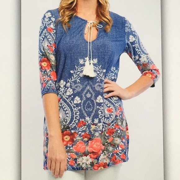 🍰Blue floral🍬embroidered print tie blouse