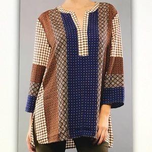 Tops - 🍦Brown/blue🍦geo pattern blouse
