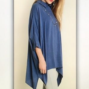 Tops - 🐬Blue 3/4🐬sleeve button dolphin blouse
