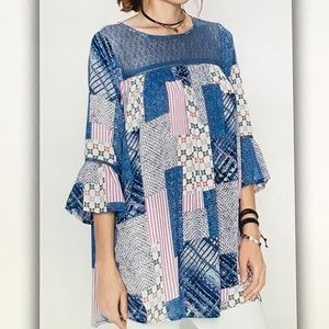Tops - 🐋Blue/pink🐋patchwork 3/4 sleeve blouse