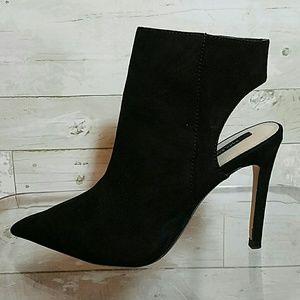 Zara black suede heel open ankle boots size 37