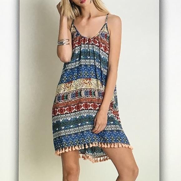 Dresses & Skirts - 🍑Blue/peach🍑geo spaghetti strap dress