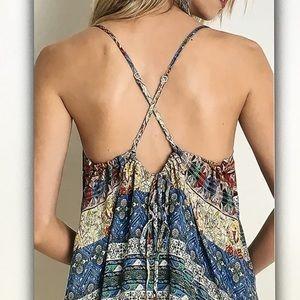 Dresses - 🍑Blue/peach🍑geo spaghetti strap dress