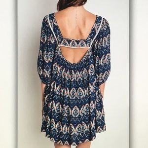 Dresses - ☂Blue/orange☂ pattern boho dress