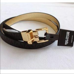 Michael kora brown reversible belt gold sz L new