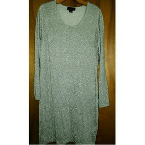 Metallic Silver Sweater Dress Tunic