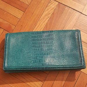 Banana Republic Handbags - NWT Banana Republic Teal Crocodile Clutch