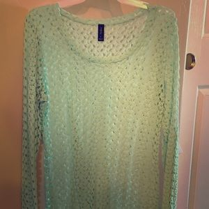 Beautiful mint green knit long sleeve sweater
