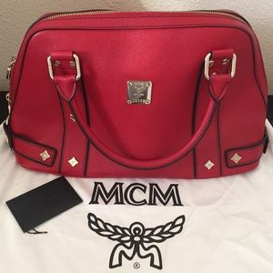 Authentic MCM Leather Bowler Handbag