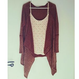 Basil Lola Sweaters - Burgundy Heather Cardigan by Basil Lola