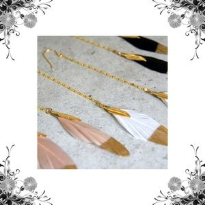 Function & Fringe Jewelry - Function & Fringe Gold Dipped Feather Earrings