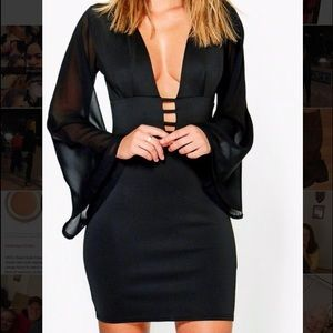 Size 8 black bodycon dress by Boohoo