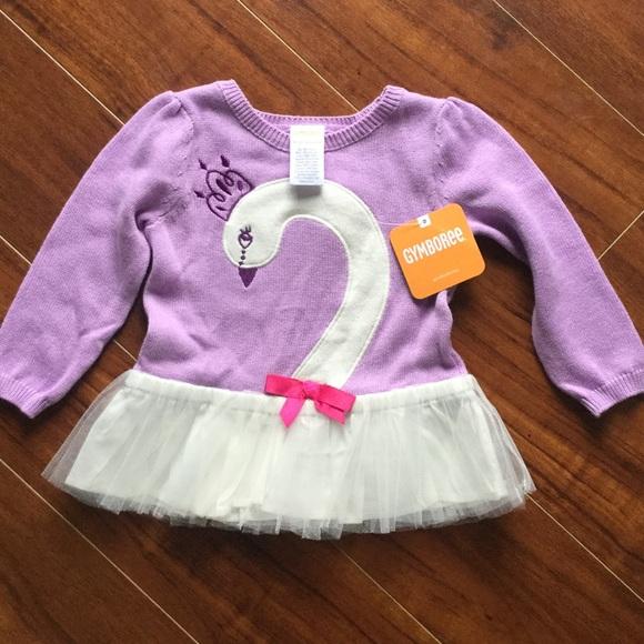 NWT GYMBOREE Girls LAVENDER BUNNY White Knitting Sparkle Top Shirt 12-18 Months