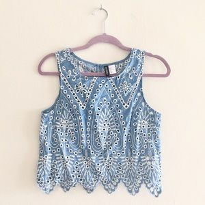 H&M Tops - H&M Embroidered Eyelet Blouse