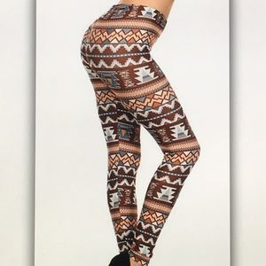 🌊Brown/cream🌊 Aztec geo leggings