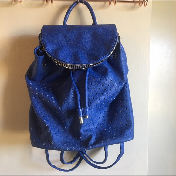 77% off Handbags - BLUE LEATHER BACKPACK BY EXPRESSIONS NYC from ...
