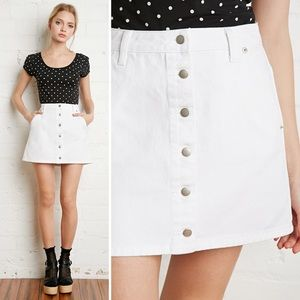 Forever 21 Dresses & Skirts - FOREVER 21 White Denim Button Front Mini Skirt S