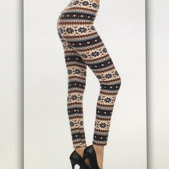 Pants - 🌨Blue brown🌨 snowflake geo winter leggings
