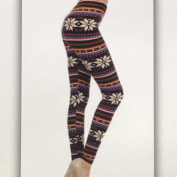 ❄️Black brown❄️ cream snowflake geo leggings