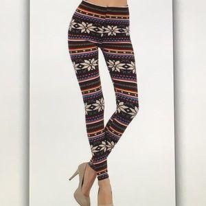 Pants - ❄️Black brown❄️ cream snowflake geo leggings