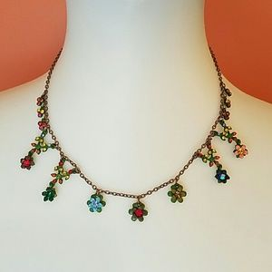 Flower Jeweled Necklace
