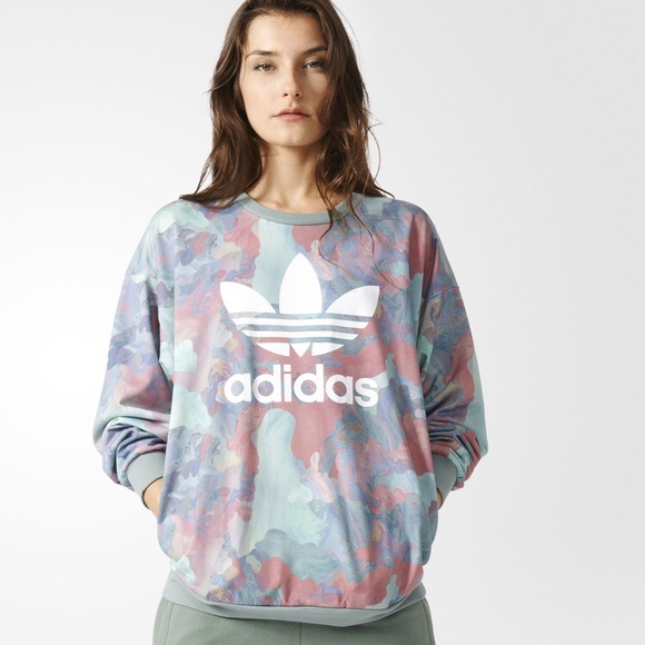 best cheap the sale of shoes hot new products Adidas pastel camo crew neck sweatshirt NWT