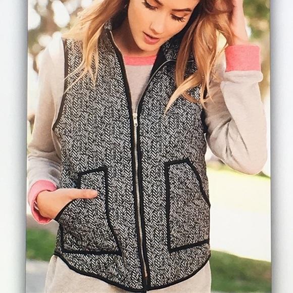 🔥Black gray🔥 herringbone pocket puff vest