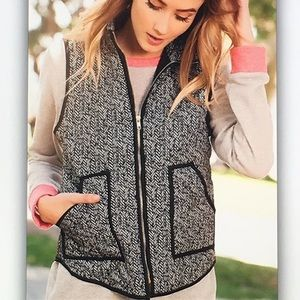 🔥Black gray🔥 herringbone pocket puff vest