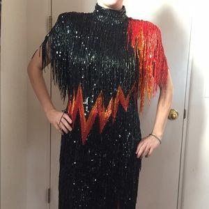 VTG Bob Mackie Beaded Fringe Silk Mini Dress SZ S