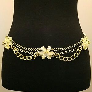 Accessories - Gold Glit Jeweled Yellow Flower Belt